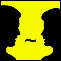 an icon depicting two people talking
