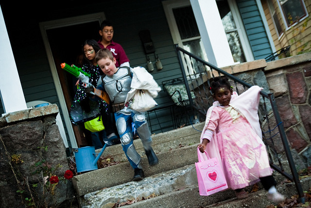 A group of children trick-or-treating.