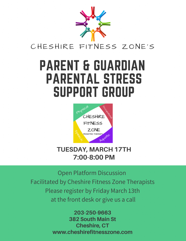 This photo describes an event held at Cheshire Fitness Zone. The event is a parent and guardian support group about parental and caregiver stress,