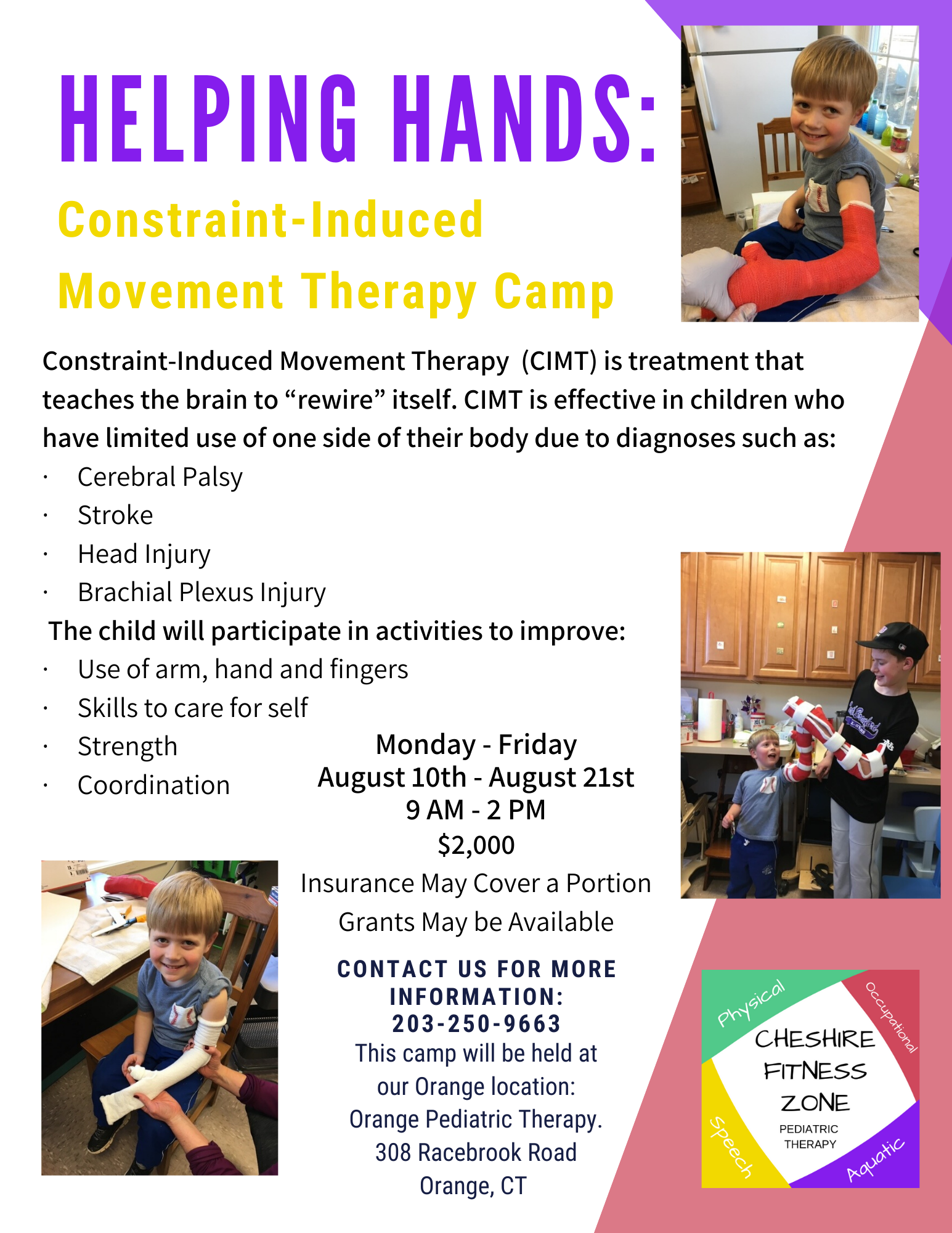 flyer with information about constraint-induced movement therapy